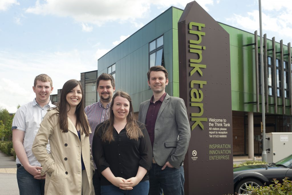 The Epix Media team, from left, Ryan Bowden, Zoe Easey, Ben Nipper, Stefania Palmisano and Will King photographed outside their new offices, which are based inside the Think Tank, Lincoln. Date: May 11, 2015 Picture: Chris Vaughan/Chris Vaughan Photography