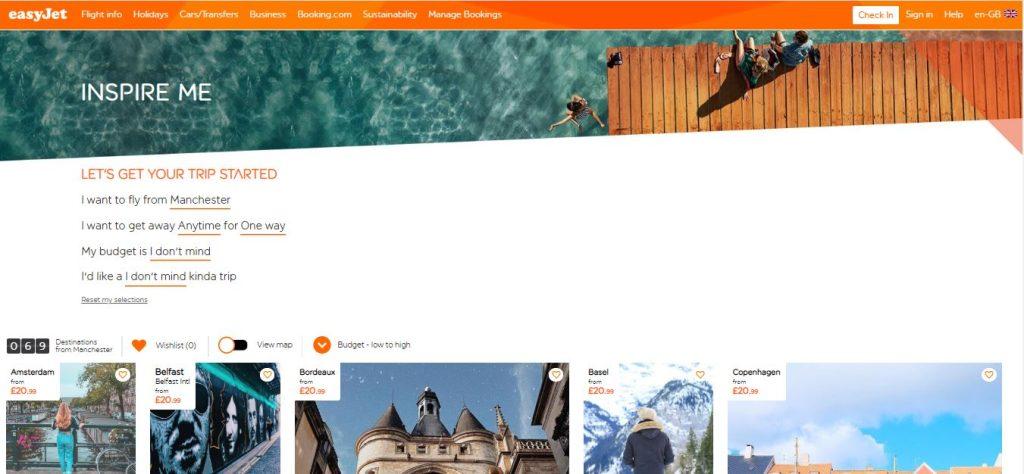 screen shot of easyjet's inspire me website