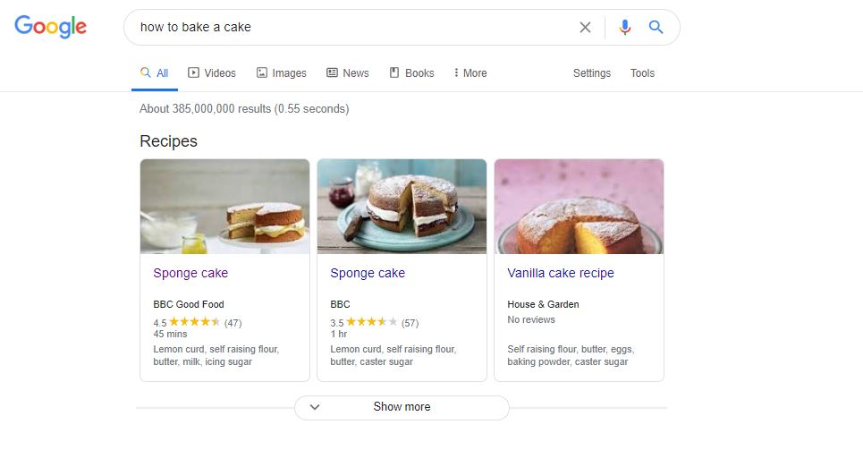 """recipe rich snippet for search term """"how to bake a cake"""""""